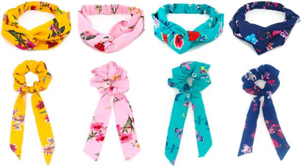 BEATOP Stylish DIY floral hairband and scrunchies latkan combo for multi-use for girls and women Hair Accessory Set