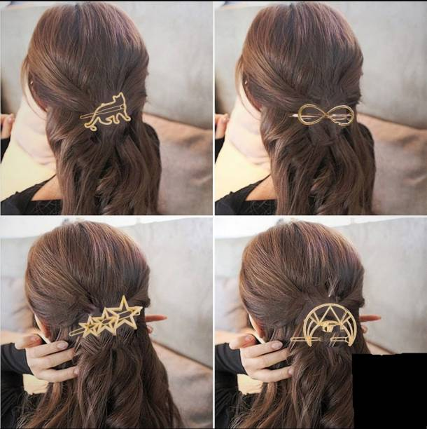 HOMEMATES 4 Pack Circle Flower Star Branch Pearl Metal Gold Hair Clips Hairpins Snap Barrettes Comb Claw Clamp Wedding Bridal Decorative Hair Styling Hair Accessories for Women Girls Hair Pin