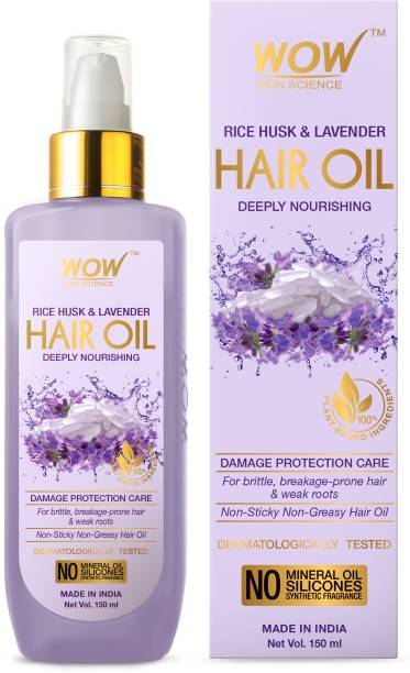 WOW SKIN SCIENCE Rice Hair Oil With Rice Husk & Lavender Oil - No Mineral Oil, Silicones & Synthetic Fragrance - 150mL Hair Oil