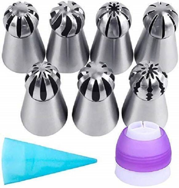 AL ATASH 7 Pc Sphere Ball Flowers Russian Nozzles Tips with 3 Color Partition Coupler, Silicone Icing Piping Bag, Pastry Cake Fondant Cupcake Buttercream Baking Cake Decoration Tool Set (Set of 9) Silicone, Stainless Steel, Plastic Round Icing Nozzle