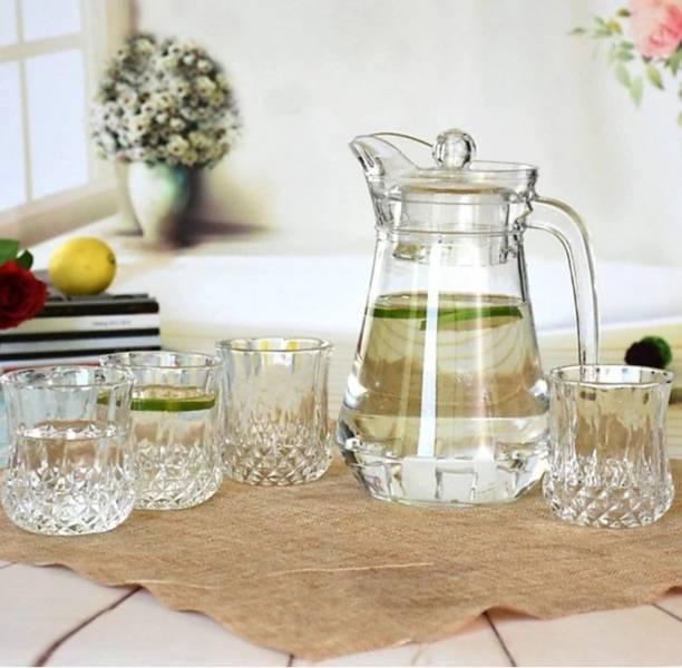 DULARIYA Glassware Imported Crystal Glass Carafes & Pitchers Jug (1.3 L) 6 Glass (300 ml)(pack of 7) Jug Glass Set
