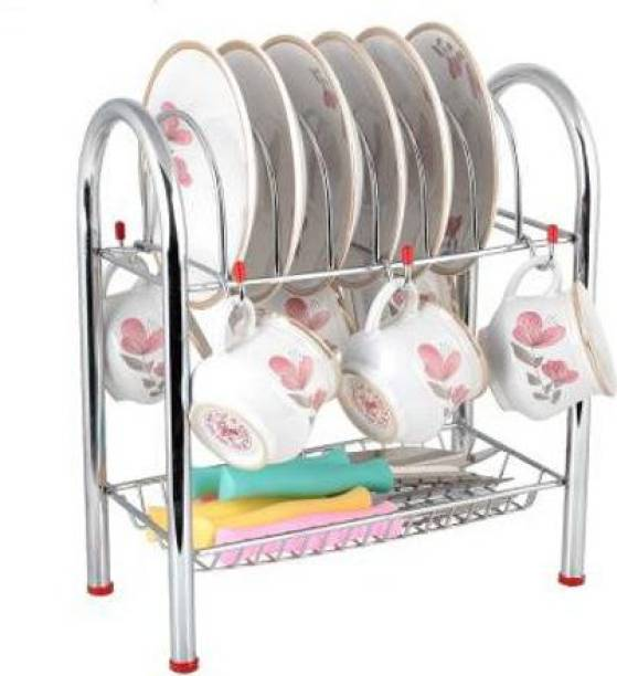 RBGIIT Stainless Steel Kitchen Dish Rack Plate Cutlery Stand Storage for Cup and Saucer Stand Holder Utensil Kitchen Rack (Steel) Dish Drainer Kitchen Rack (Steel) Stainless Steel Kitchen Trolley