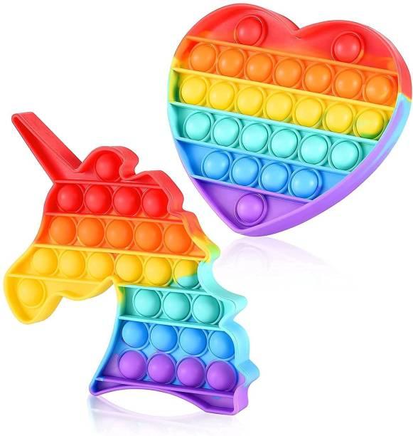 Zmeet Pop it, Pop It Fidget Toys, pop it Rainbow, Push Pop Bubble Fidget Sensory Toy, Autism Special Needs Silicone Stress Relief Toy, Great Fidget Toy Sensory Toys -Heart + Unicorn Rainbow