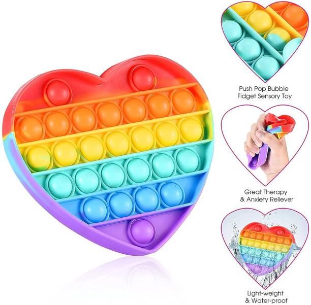 YOTYM Pop Fidget Toys, Rainbow Heart Pop it Up Push Pop Bubble Fidget Popping Sensory Toy for Kids and Adults, Fidget Popper Stress Relief POP IT TOY Gag Toy