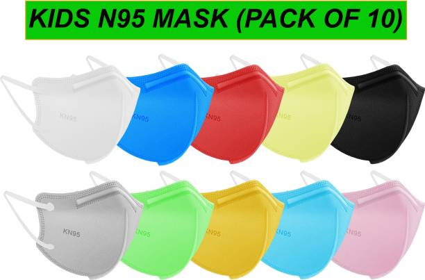 INSOL Kids N95 Mask, 5 Layer Protection With Soft Inner Layer, Reusable & Washable, SITRA Approved & Tested, Ear loop Style For Kids / Adults (Up to Age 18) (Pack of 10 Different Colour)