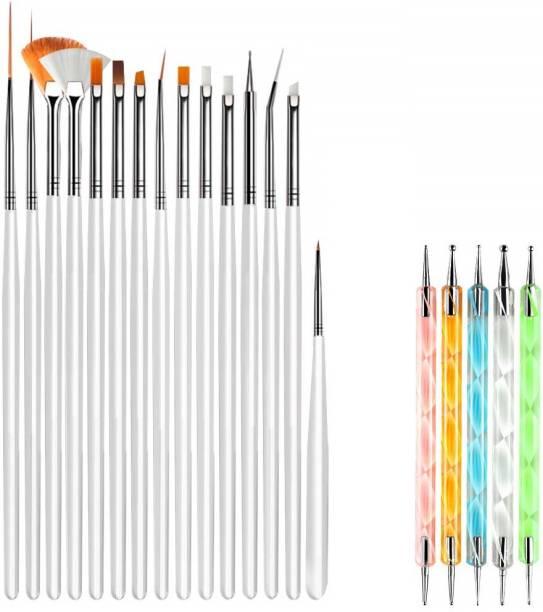 TREXEE Professional Nail Art Supplies with 15pcs Brush Set, 5pcs Dotting Pen