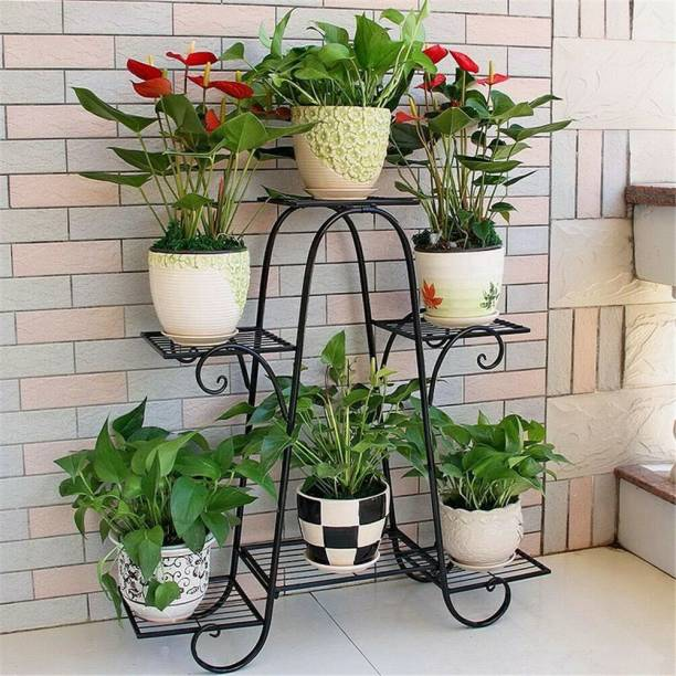 Bee Creative Iron Plant Stand/Pot Stand (6 Pot Holder Black) without pot Plant Container Set