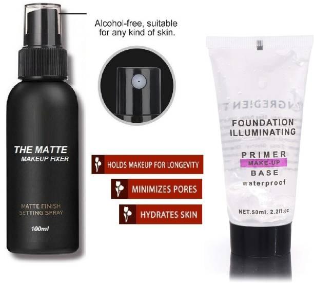 MIKARA pro touch oil free smooth skin matte finish primer with fixer spray primer combo Primer  - 150 ml