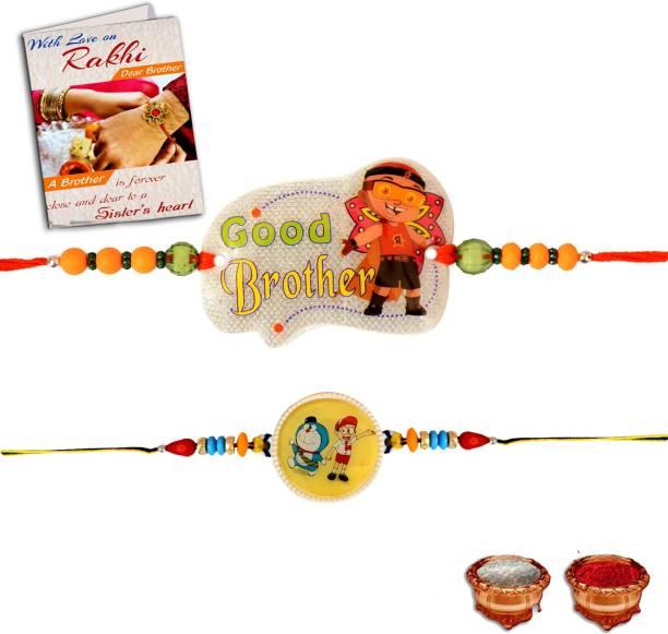 BuyersCue Kids Rakhi, Greeting Card, Chawal Roli Pack  Set