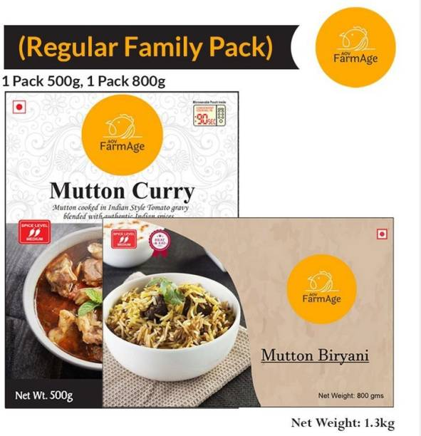 AOV FarmAge Premium Mutton Curry & Mutton Biryani (Family Pack)-Ready to Eat | Instant Food | FarmAge 1300 g