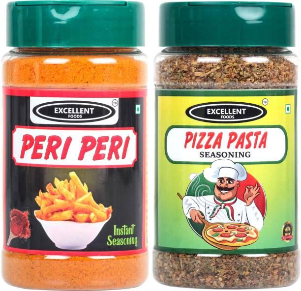 Excellent Foods Peri Peri Seasoning + Pizza Pasta Seasoning Sprinkler Combo 100 Grams each ( Pack of 2 )
