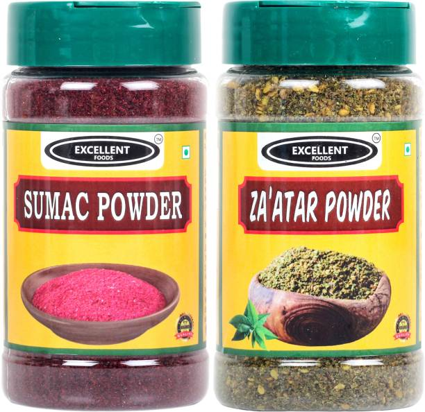 Excellent Foods Set of Sumac Powder & Za'atar Powder - Traditional Middle Eastern Spice - Premium Quality 100 Grams*2 Bottle