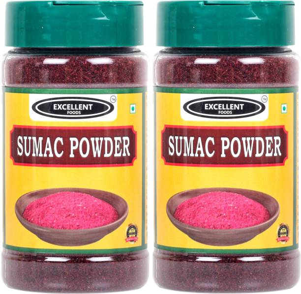 Excellent Foods Sumac Powder - Traditional Middle Eastern Spice - Premium Quality 100 Grams*2 Bottle