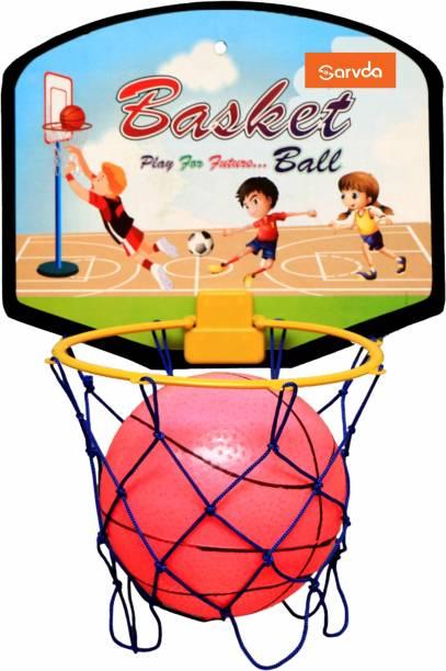 sarvda Sarvda Basketball for kids portable set with hanging board ball net indoor and outdoor game good pastime gift set Multicolour Baseball Kit