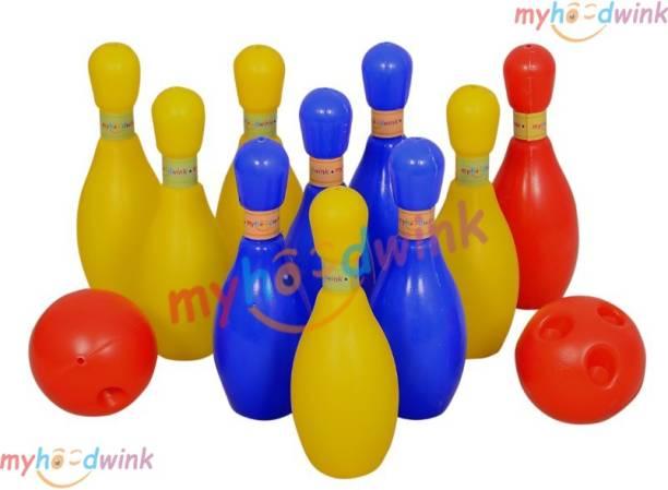 Myhoodwink 10 pcs Bowling set toy for boys and girls kids (10 pcs pins 2 balls) Bowling