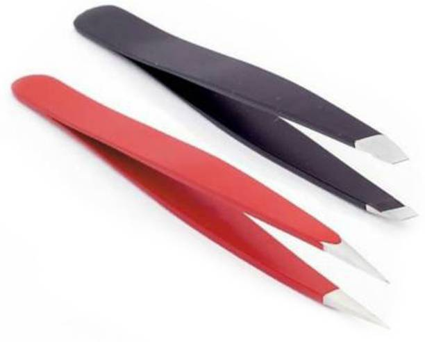 Red Ballons Eyebrow Plucker Tweezer Set For Men And Women, Slant Tip, Flat Tip And Pointed Tip Hair Plucker (Black and Red )