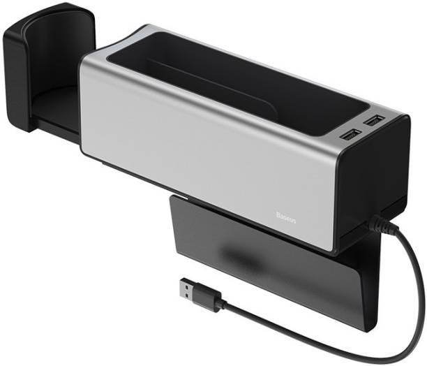 Baseus Deluxe Metal Armrest Console Organizer dual USB power supply Silver Car Armrest