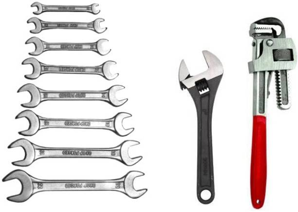 DHATRI TOOLS DOE Spanner Set of 8 Pcs With Rack (6x7,?8x9,10x11,12x13,14x15,16x17,18x19,20x22 ),8 INCH ADJUSTABLE 10 INCH PIPE WRENCH Double Sided Open End Wrench