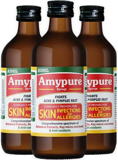 AIMIL Amypure Ayurvedic Blood Purifier Syrup For Pimple Free, Fair & Glowing Skin (Pack of 3)