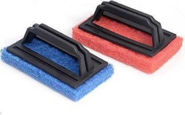 WORTHYCART Tile Cleaning Multipurpose Scrubber Brush With Handle Plastic Dry Brush