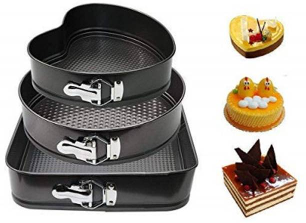"SHAVIRO Non Stick Cake Baking Moulds, Set of 3, Black (10"", 9"", 8"") Steel Cake Square, Round and Heart Shape Making Tray Cupcake Maker"