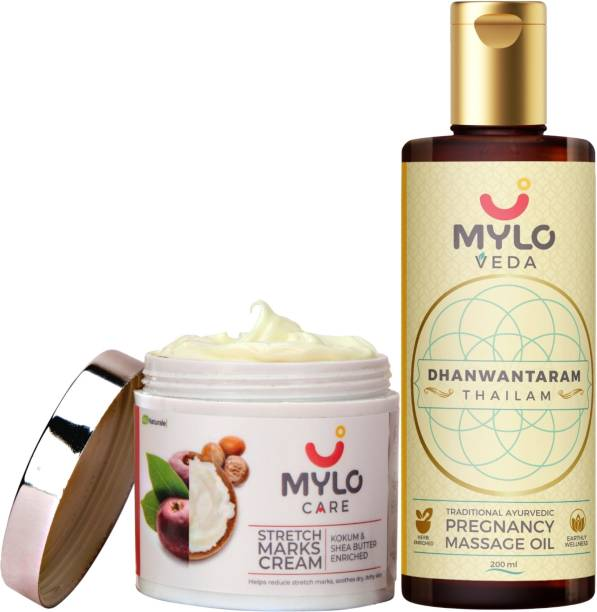 MYLO CARE Pregnancy Care Combo - Stretch Marks Cream (100 ml) & Ayurvedic Pregnancy Massage Oil/Stretch Marks Oil (200 ml) Dhanwantaram Thailam - Combo For Stretch Marks, Skin Tightening & Pain Relief