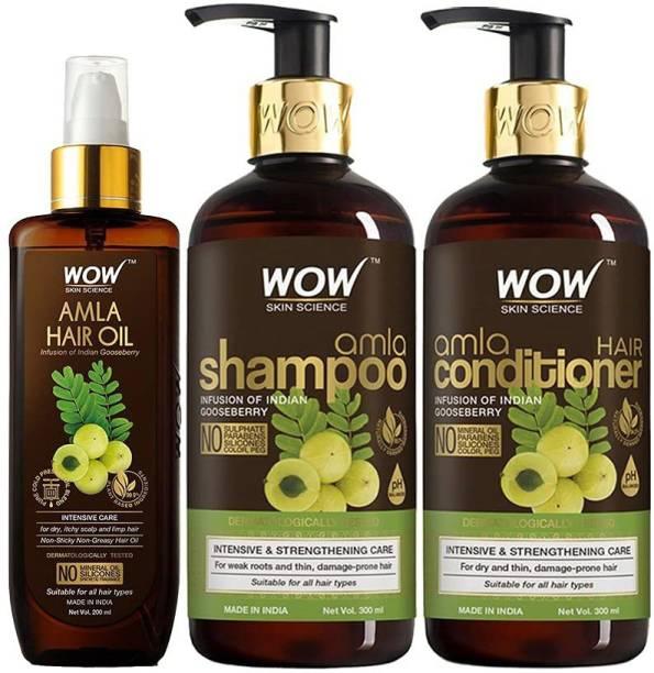 WOW SKIN SCIENCE Amla Hair Care Kit - consist of Amla Hair Oil, Amla Shampoo & Amla Conditioner - Net Vol 800mL