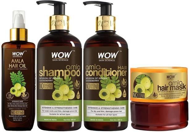 WOW SKIN SCIENCE Amla Ultimate Hair Care Kit - consist of Amla Hair Oil, Amla Shampoo, Amla Conditioner & Amla Hair Mask - Net Vol 1000mL