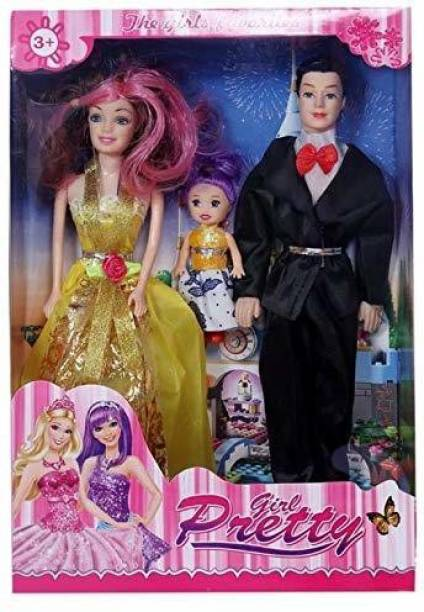 Just97 Couple Doll with Family for Baby Girl/Kids