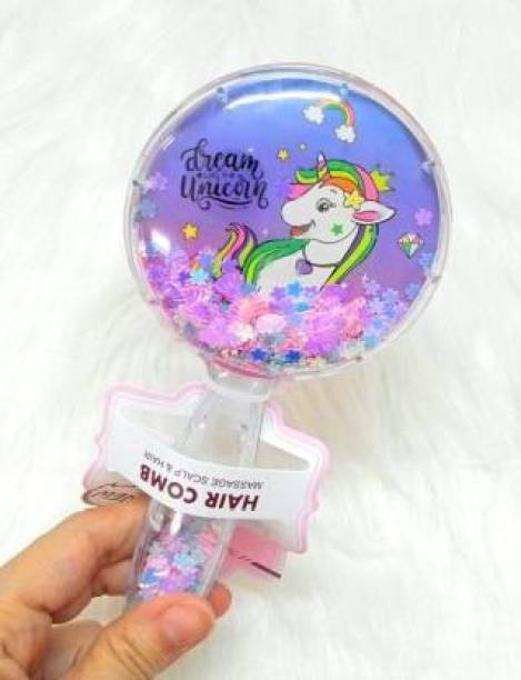 MSK kanak Unicorn Glittery Star Brush Comb Hairbrush for Kids Unicorn Hair Brush for Kids / Comb for Girls / Detangling Hairbrush for Girls