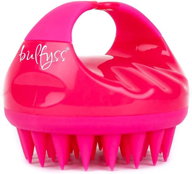 Bulfyss Hair Scalp Massager Scrub Shampoo Brush Ultra Long Soft Silicone Bristles Exfoliating Ergonomic Scrubber Comb for Dandruff Removal, Improve Hair growth Relax Thick Curly Hair for Men Women Unisex (Pink)