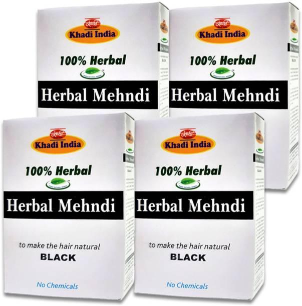 khadi natural herbal Black Mehndi (Pack of 4)