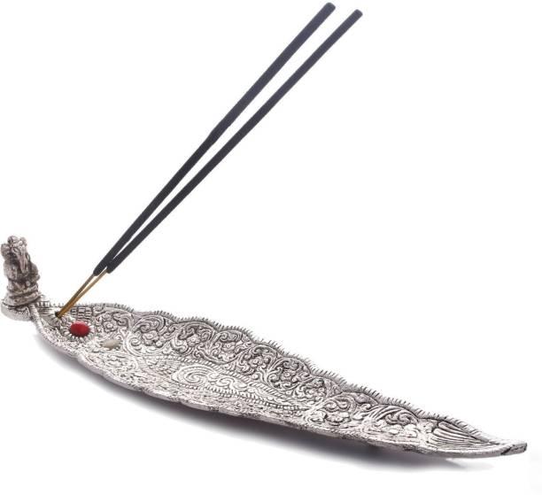 Tuelip Aluminium Leaf Design Silver Incense Holder and Ash Catcher Decorative Aluminium Incense Holder