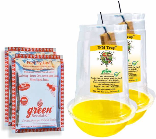 Green Revolution Fruit Fly Pheromone Trap (IPM Trap with Fruit Fly Lure) Pack of 4