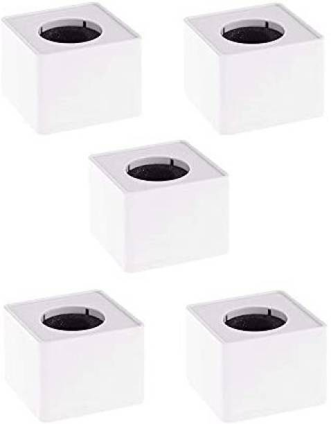 Daz Cam ABS Injection Molding Square Cube Interview Mic Microphone Logo Flag Station Logo -White Pack of 5 Holder