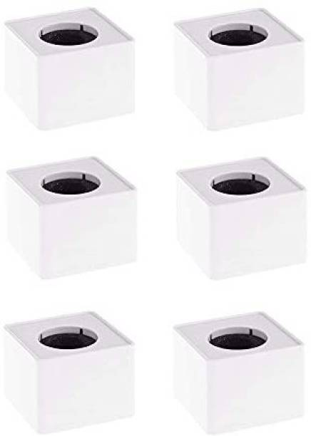 Daz Cam ABS Injection Molding Square Cube Interview Mic Microphone Logo Flag Station Logo -White Pack of 6 Holder