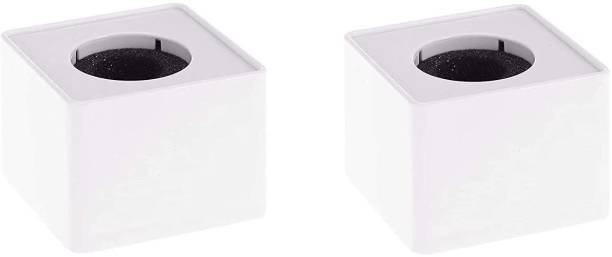 Daz Cam ABS Injection Molding Square Cube Interview Mic Microphone Logo Flag Station Logo -White Pack of 2 Holder