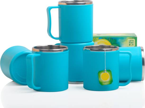 Shoptool Pack of 6 Plastic, Stainless Steel Tea-Coffee Lover's First Choice Premium Quality Steel Insulated Tharmoware Tea / Coffee / Mugs / Cup / Set