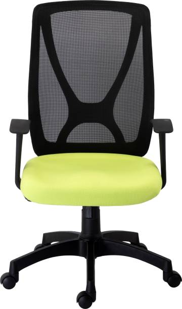 Bluebell XTREME ERGONOMIC MED BACK OFFICE/REVOLOVING/EXECUTIVE WORKSTATION/STUDY CHAIR WITH FIX ARMS AND BREATHEABLE MESH BACK(BLACK-GREEN) Mesh Office Executive Chair