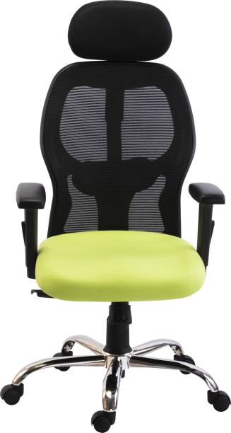 Bluebell VEGAS HIGH BACK ERGONOMIC OFFICE REVOLOVING/EXECUTIVE CHAIR WITHADJUSTABLE ARMS,HEADREST AND LUMBER SUPPORT (BLACK-GREEN) Mesh Office Executive Chair