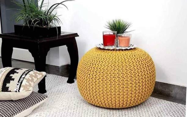 Moksh Handloom Solid Wood Pouf