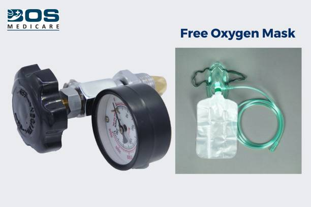 BOS MEDICARE Oxygen Flow Meter With Humified Bottle Floor Mount Oxygen Cylinder Holder