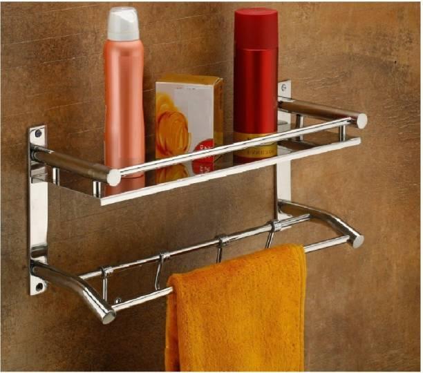 Craftbin Bathroom Racks and Shelves with Towel Hanger / Bathroom accessories Stainless Steel Wall Shelf