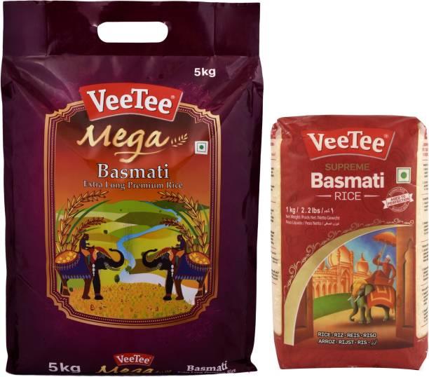 VeeTee Combo Pack Of Mega Basmati Rice (5 Kg) and Supreme Basmati Rice (1 Kg) Basmati Rice (Full Grain, Polished)