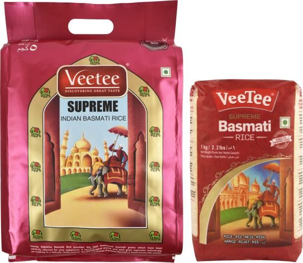 VeeTee Combo Pack Of Supreme Basmati Rice (5 Kg) and Supreme Basmati Rice (1 Kg) Basmati Rice (Full Grain, Polished)