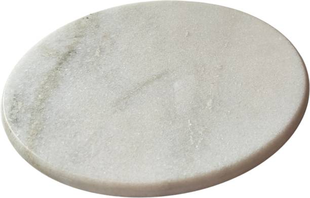 Parijata White Polsihed Marble Chakla Chapati Rolling Board 10IN Roti and Khakra Maker