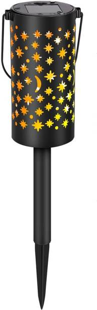 Epyz Solar Garden Lights Star Moon Solar Hanging Metal Solar Pathway Lights, Waterproof, Sun Powered Outdoor Lights for Walkway, Patio, Lawn, Yard [ Warm Yellow Light , Pack of 1 ] Solar Light Set