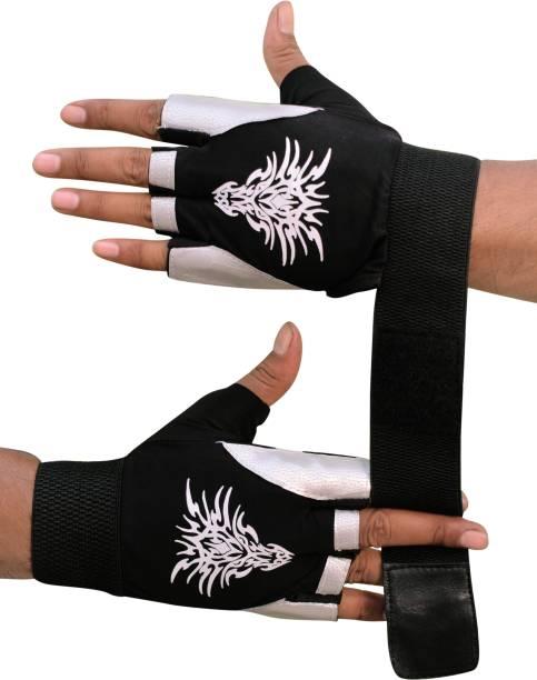 SKYFIT Super Lycra With Leather gym sports Gloves Gym & Fitness Gloves