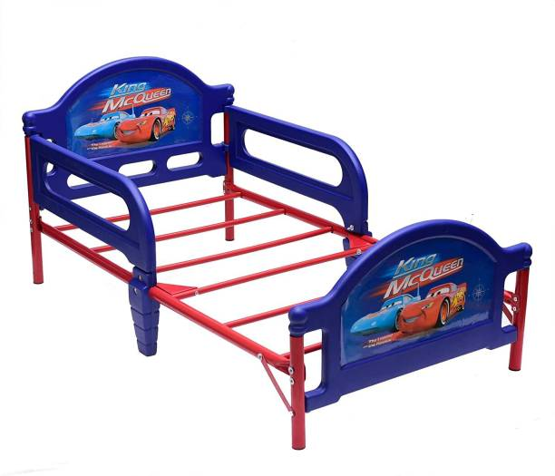 IRIS Furniture Children Deluxe King Mc Queen Toddler Bed with Attached guardrails (Blue) Metal Single Bed