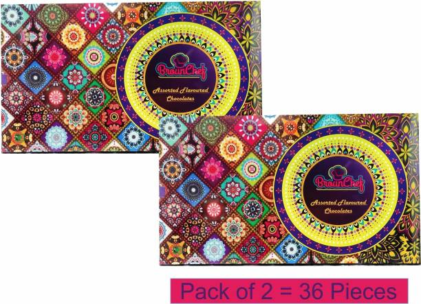 BrounChef Dry Fruits Filled Assorted Flavours Premium Dark, White & Milk Chocolate Combination 2 Pack of 250 gms/18 pieces = 500 gms/36 pieces Fudges